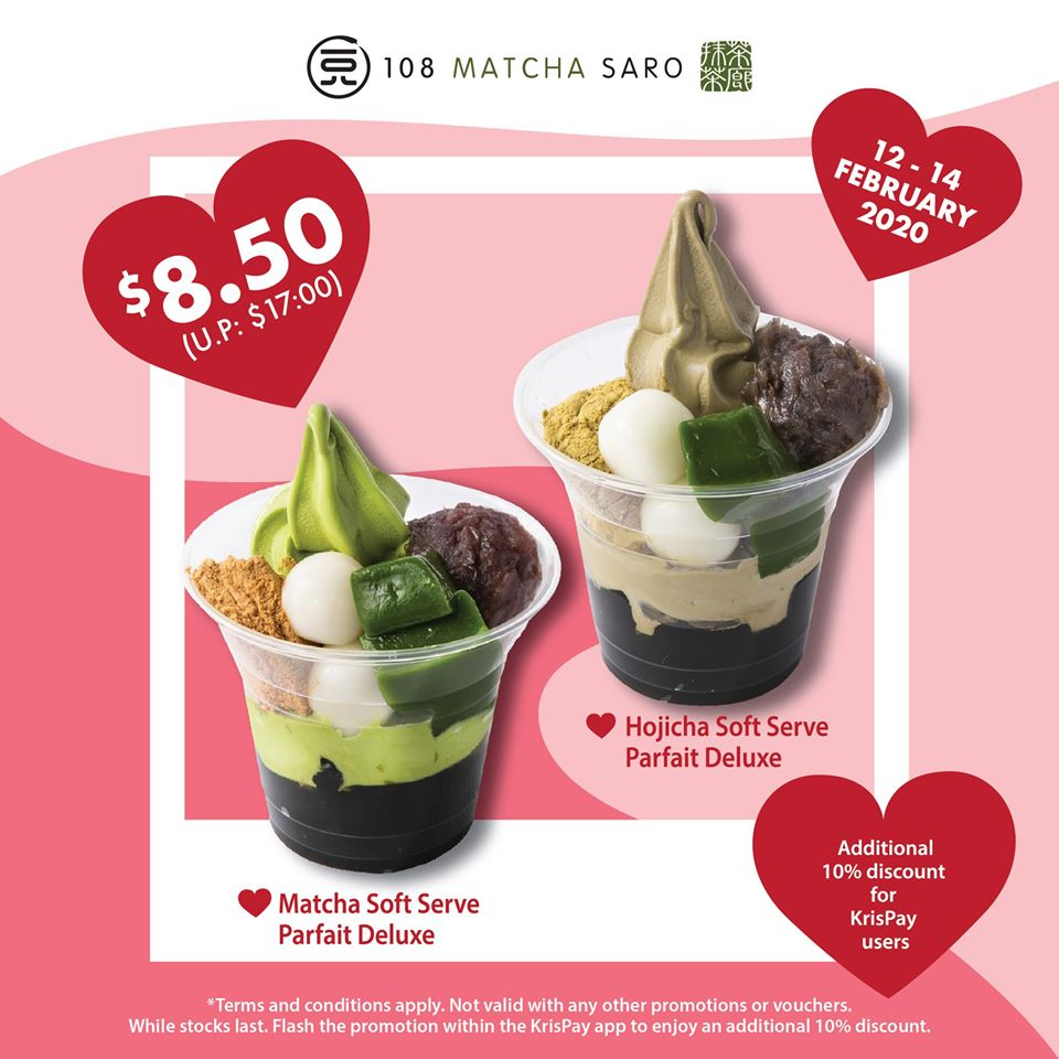 108 Matcha Saro SG 1-for-1 Soft-Serve Parfait Deluxe 12-14 Feb 2020 | Why Not Deals & Promotions
