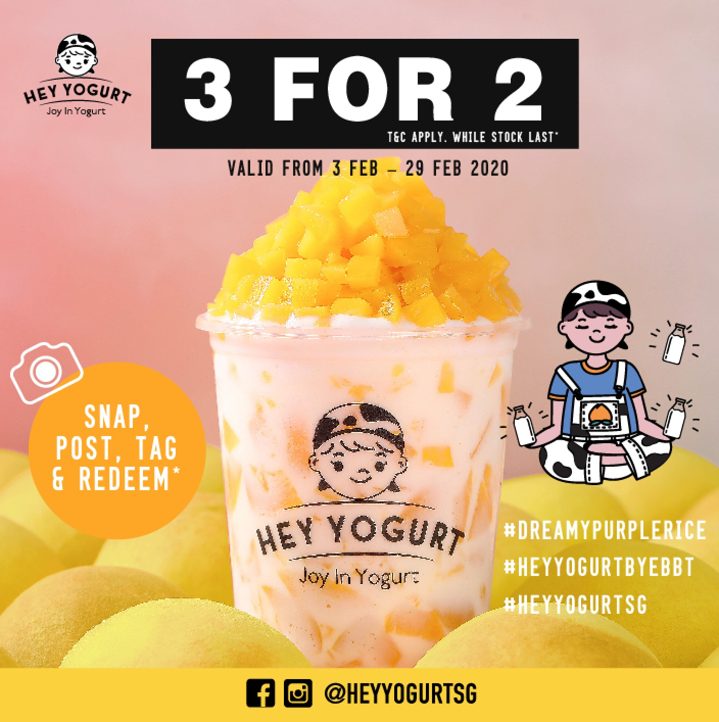 Hey Yogurt Offers 3-for-2 from 3 Feb - 29 Feb 2020 At Jurong Point | Why Not Deals & Promotions