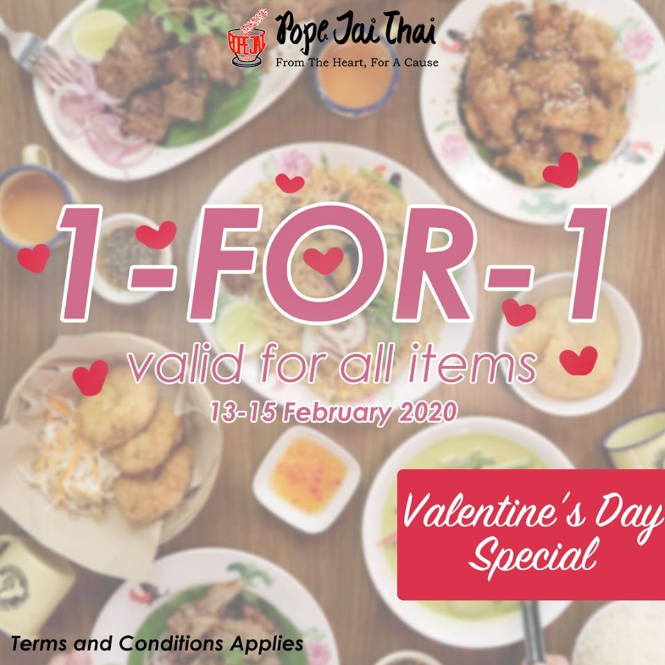 Pope Jai Thai SG Valentine's Day 1-for-1 Promotion 13-15 Feb 2020 | Why Not Deals & Promotions