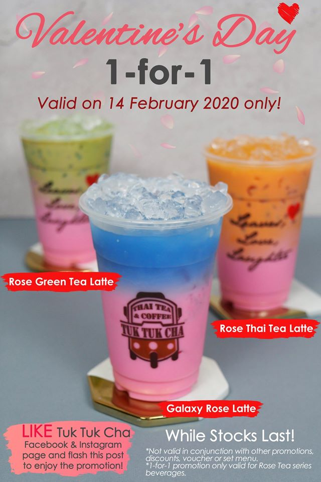 Tuk Tuk Cha SG Valentine's Day 1-for-1 Promotion 14 Feb 2020 | Why Not Deals & Promotions