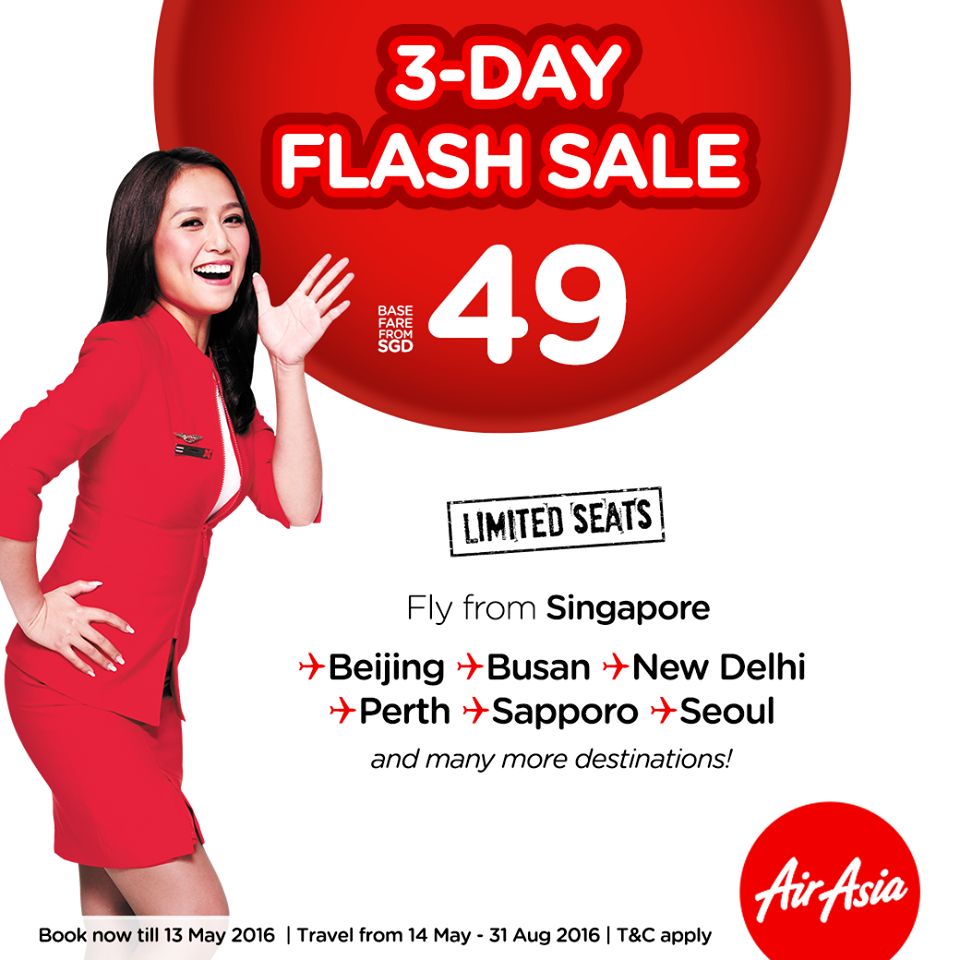 AirAsia 3-Day Flash Sale from $49 ends 13 May 2016