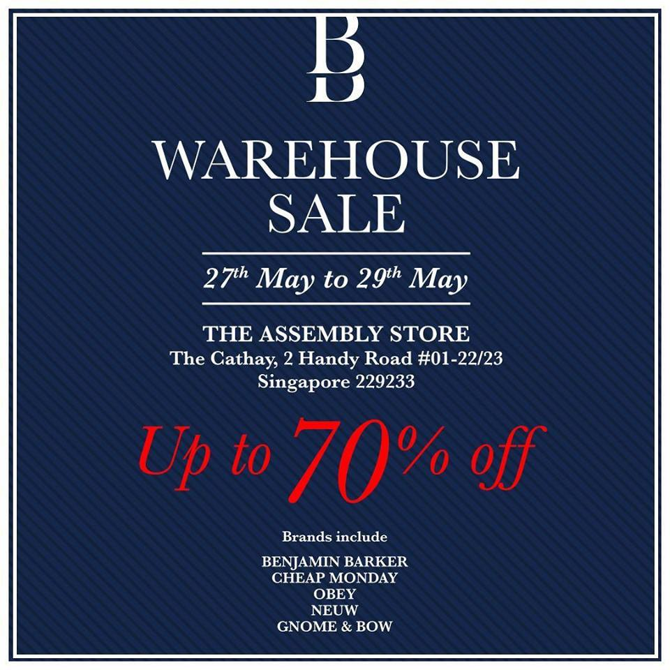 Benjamin Barker Warehouse Sale at The Assembly Store 27 to 29 May 2016