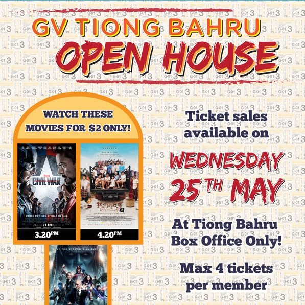 Golden Village Tiong Bahru Open House $2 Movie Tickets 25 May 2016