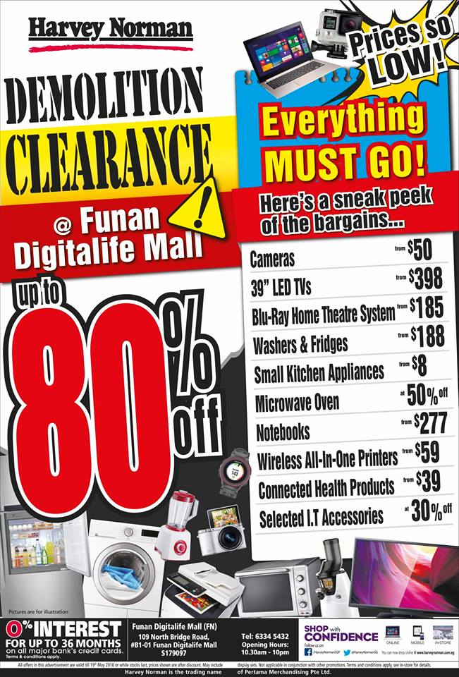 Harvey Norman Demolition Clearance Funan Digitalife Mall Ends 19 May 2016 - Why Not Deals