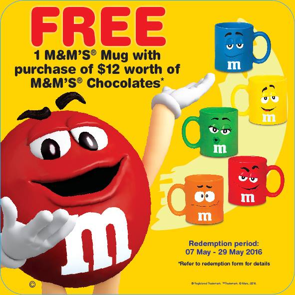 M&M Singapore FREE Mug with $12 worth of M&M Purchase 7 to 29 May 2016
