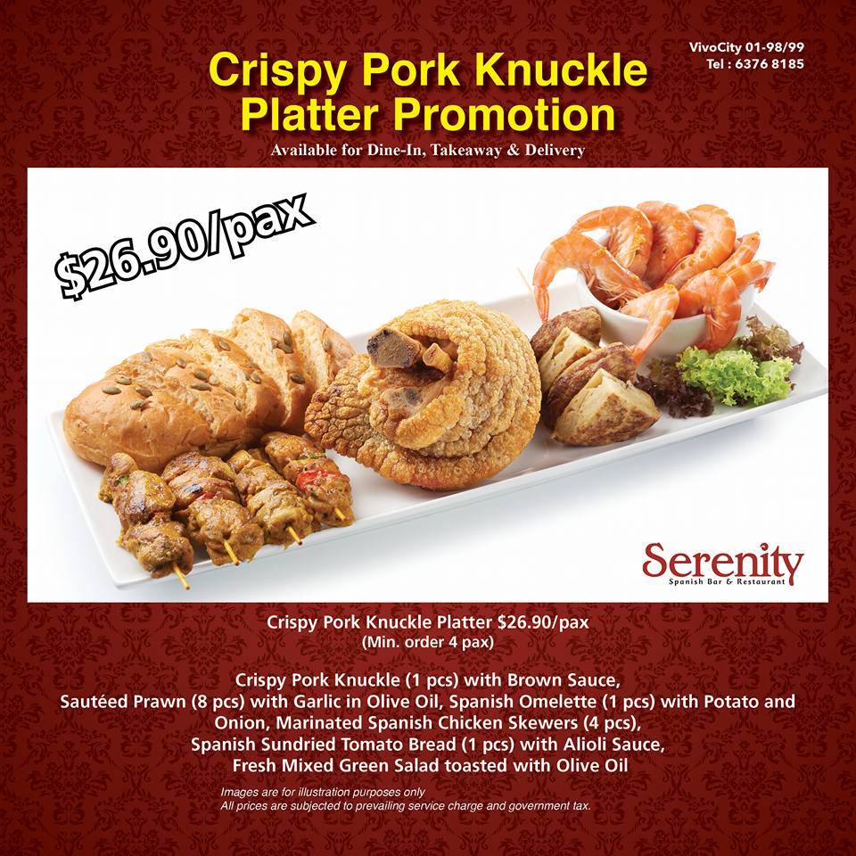 Serenity Spanish Bar & Restaurant Crispy Pork Knuckle Platter Promo