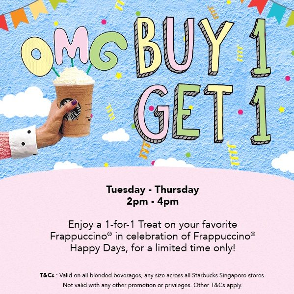 Starbucks 1 For 1 Frappuccino Tues to Thurs 2 to 4pm