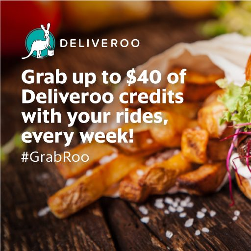 Grab x Deliveroo Up to $40 Deliveroo Credits per Week 9 May to 7 Aug 2016