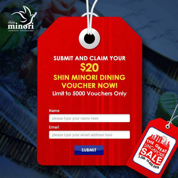 Shin Minori GSS Claim $20 Dining Minori Vouchers 3 Jun to 14 Aug 2016