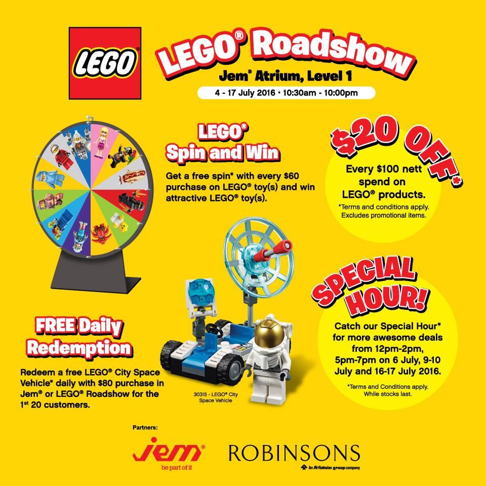 Robinsons LEGO Roadshow Singapore Promotion 4 to 17 Jul 2016