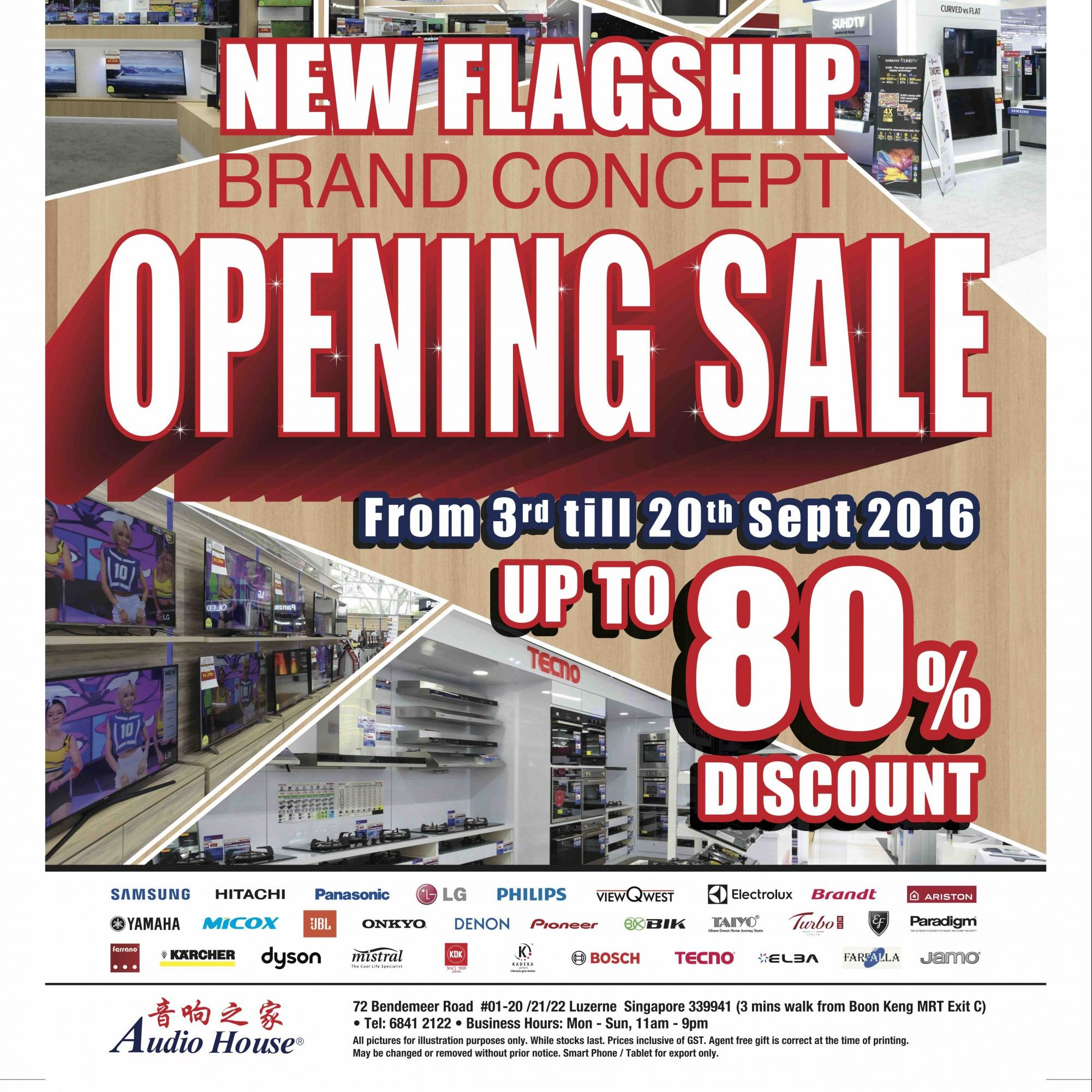 Audio House Singapore New Flagship Opening Sale Up to 80% Off Promotion 3 to 20 Sep 2016