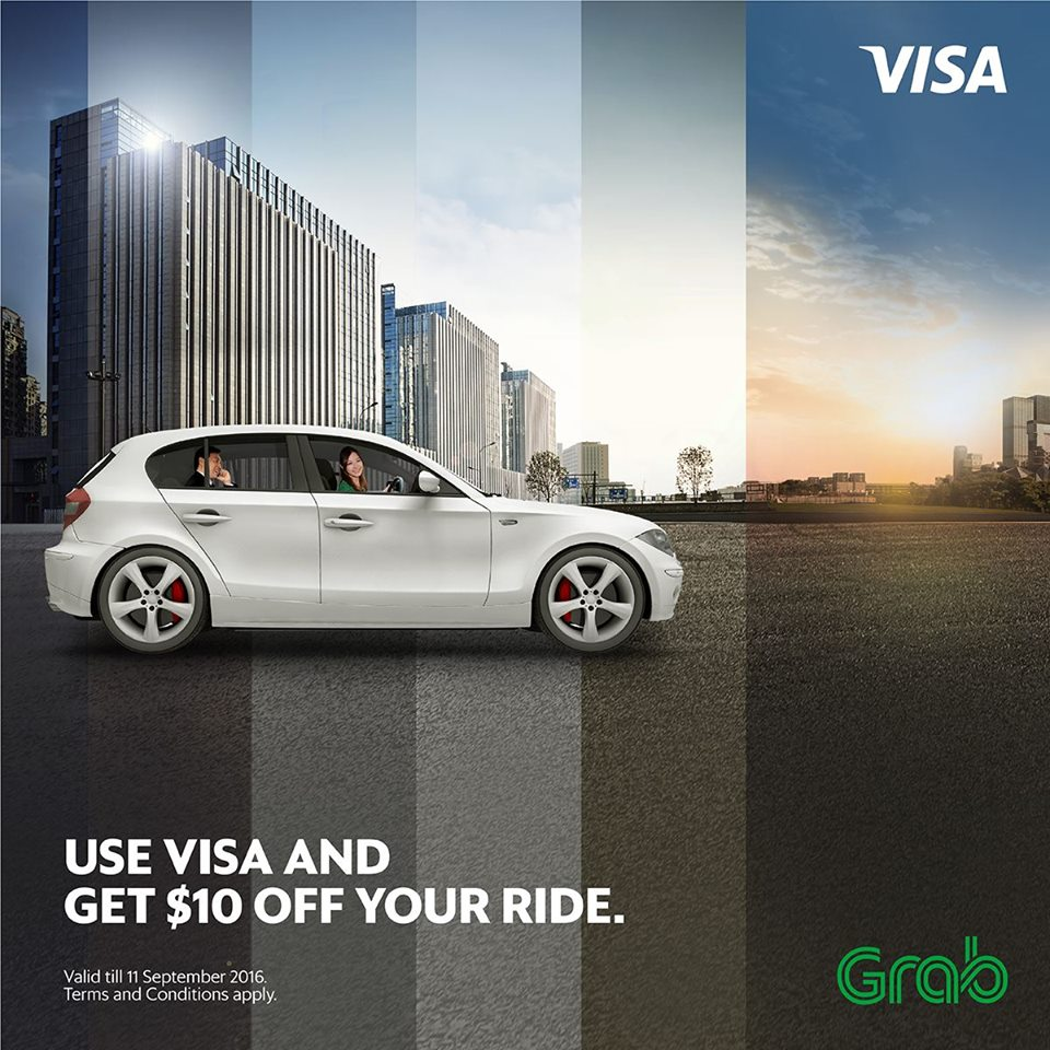 Grab $10 Off with VISA Singapore Promotion 1 Aug to 11 Sep 2016