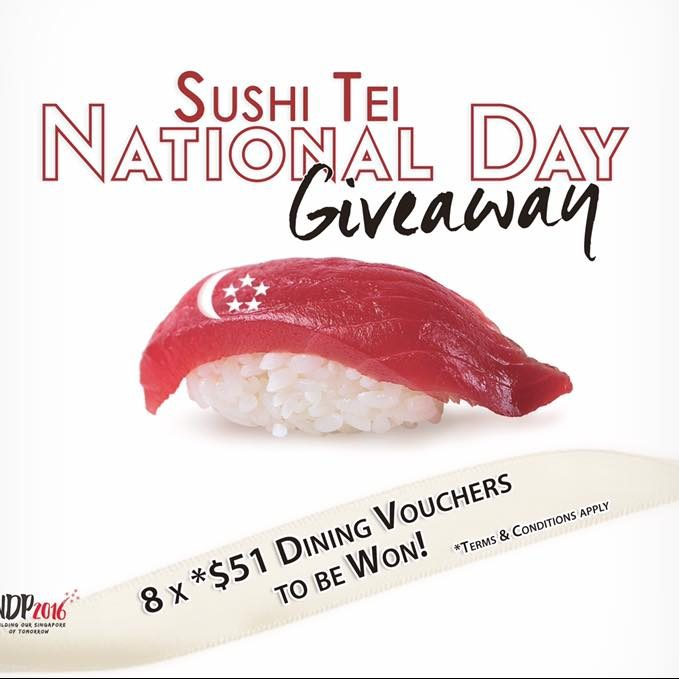 Sushi Tei National Day Giveaway 8 x $51 Dining Vouchers Singapore Contest