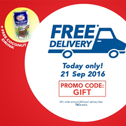 NTUC FairPrice Singapore FREE Coconut Juice & FREE Delivery Promotion 21 Sep 2016