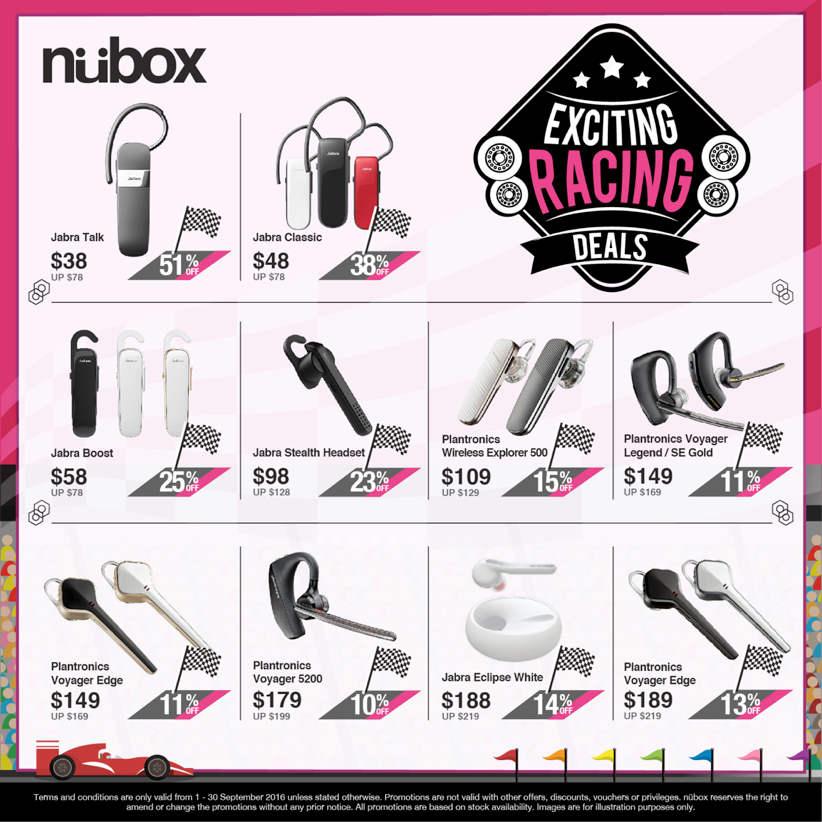 nübox Singapore Exciting Racing Deals Up to 50% Off Promotion 1 – 30 Sep 2016