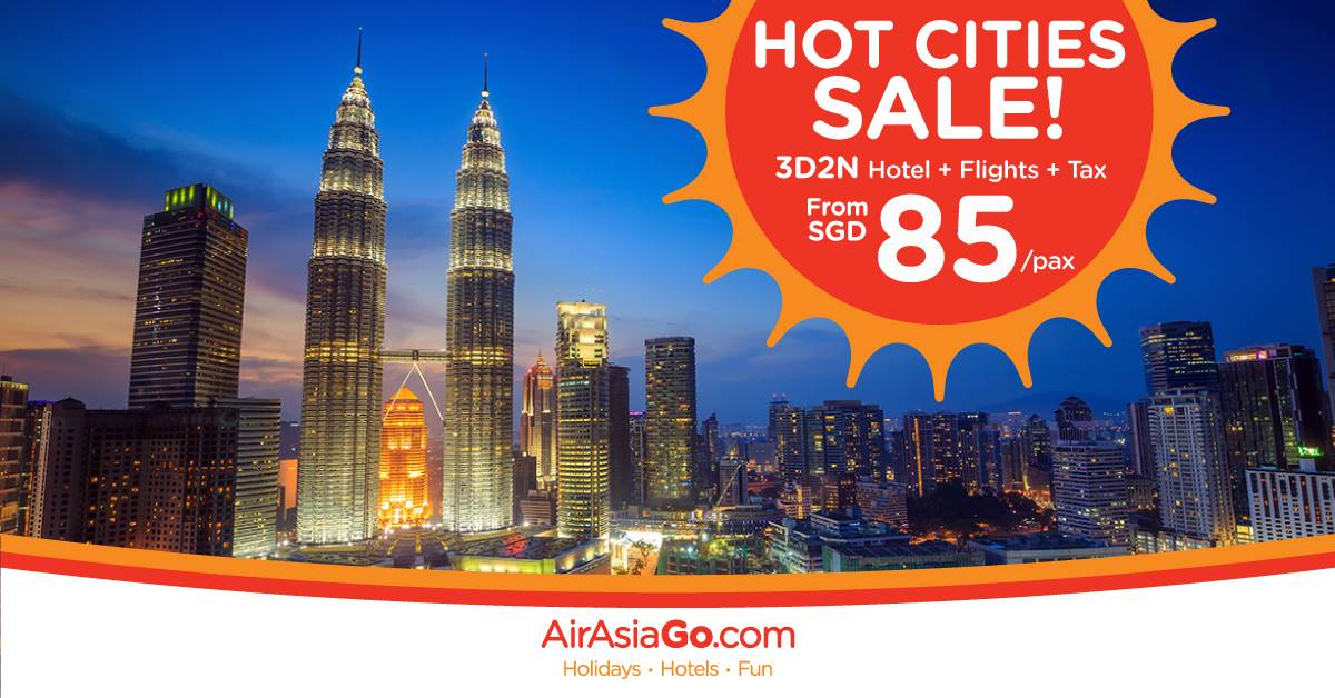 AirAsiaGo Singapore Hot Cities Sale From SGD 85 Promotion ends 23 Oct 2016