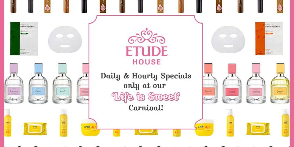 Etude House Singapore Daily & Hourly Specials at 'Life is Sweet' Carnival Promotion 10-16 Oct 2016