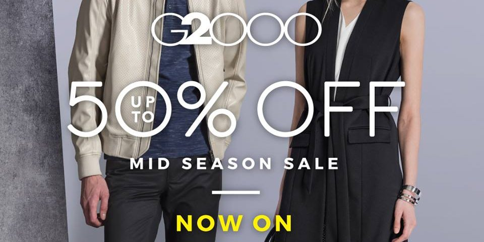 G2000 Singapore Mid Season Sale Up to 50% Off Promotion ends 30 Oct 2016