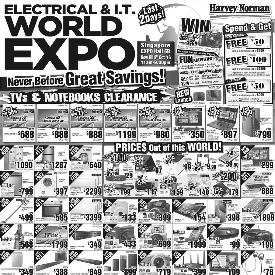 Harvey Norman Singapore Electrical & I.T. World Expo Promotion 7-9 Oct 2016