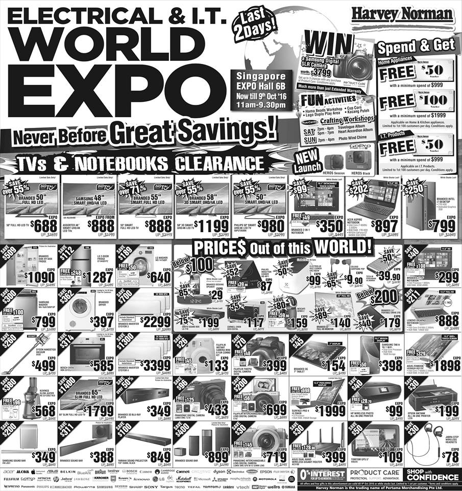 Harvey Norman Singapore Electrical & I.T. World Expo Promotion 7-9 Oct 2016   Why Not Deals