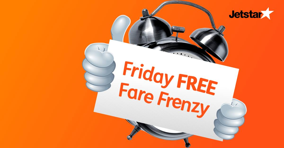 Jetstar Singapore Friday FREE Fare Frenzy Promotion ends 14 Oct 2016