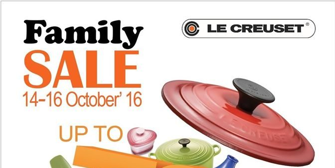 Le Creuset Singapore Family Sale @ Suntec Up to 70% Off Promotion 14-16 Oct 2016