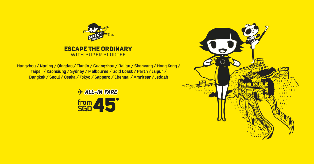 Scoot Singapore Scootin' You Off to China at $68 Promotion ends 11 Oct 2016