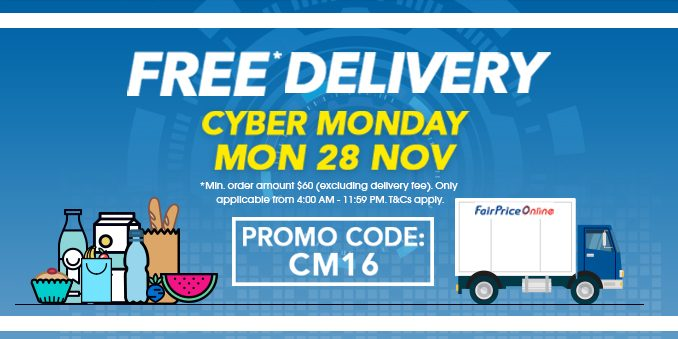 NTUC Fairprice Singapore Cyber Monday FREE Delivery Promotion 28 Nov 2016