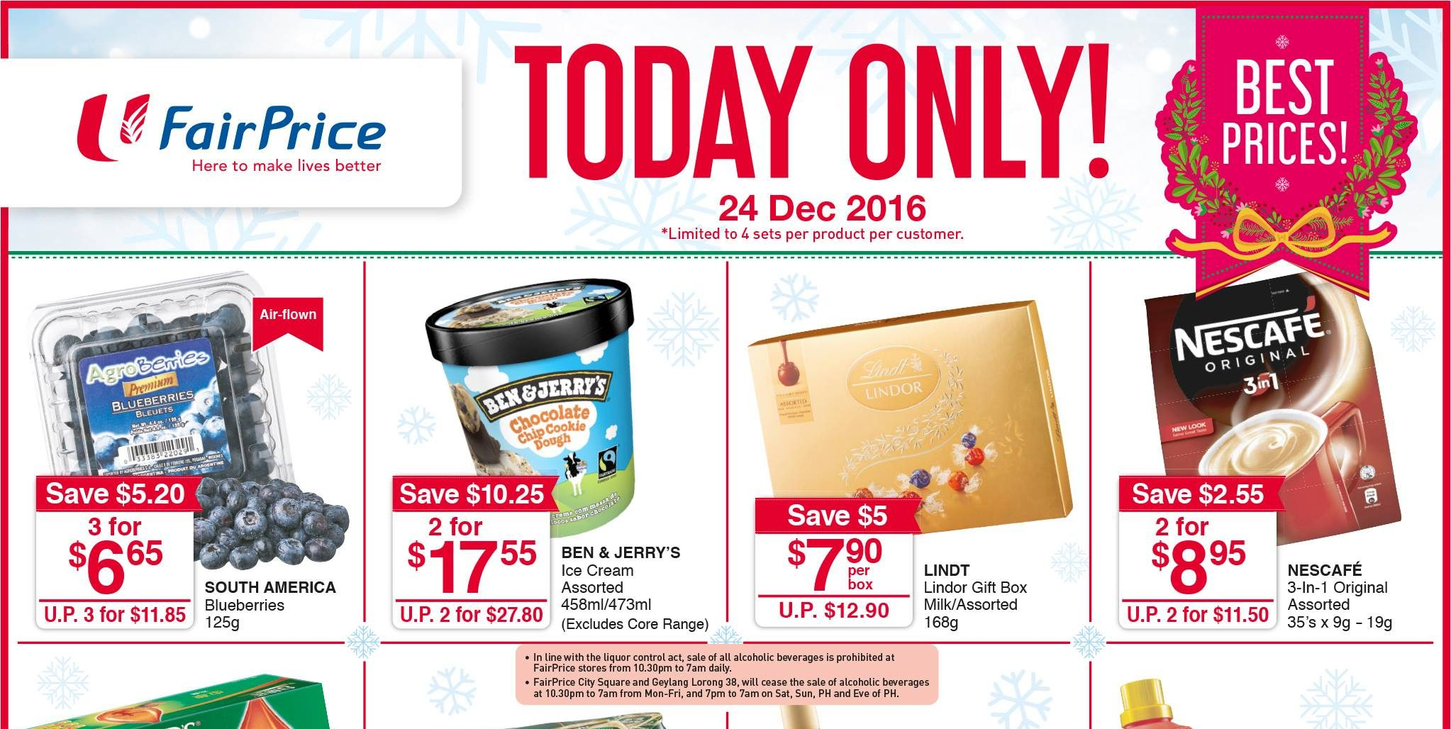 NTUC FairPrice Singapore Christmas Specials One Day Only Promotion 24 Dec 2016