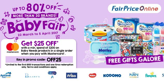 NTUC FairPrice Online Singapore Baby Fair Up to 80% Off Promotion ends 5 Apr 2017