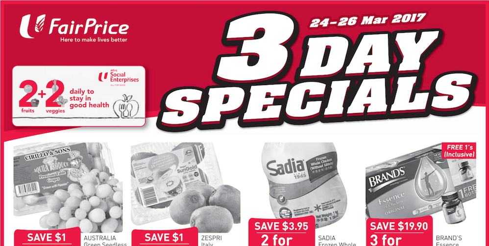 NTUC FairPrice Singapore 3 Day Special Promotion 24-26 Mar 2017