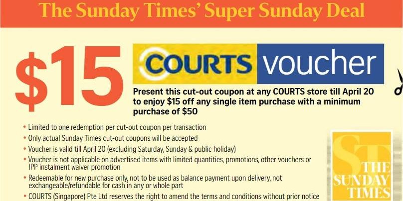 Courts Singapore 15 Cut Out Coupon From The Sunday Times Promotion Ends 20 Apr 2017 Why Not Deals