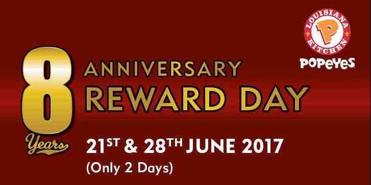 Popeyes singapore 8th Anniversary Reward Day $5 Voucher Promotion 21 & 28 Jun 2017