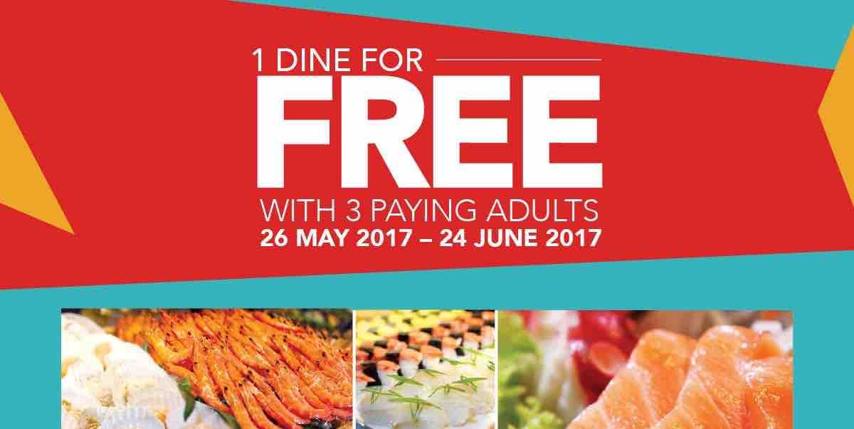 Sakura International Buffet SG 1 Dine for FREE with 3 Paying Adults Promotion ends 24 Jun 2017
