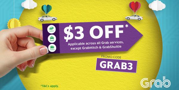 Grab Singapore $3 Off Rides GRAB3 Promo Code 29 Sep – 1 Oct 2017