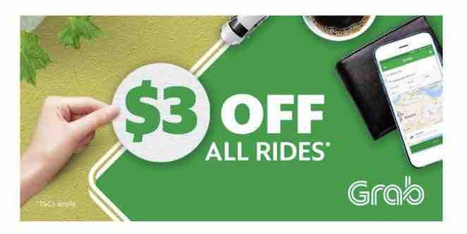 Grab Singapore $3 Off Rides TAKE3 Promo Code 16-22 Oct 2017