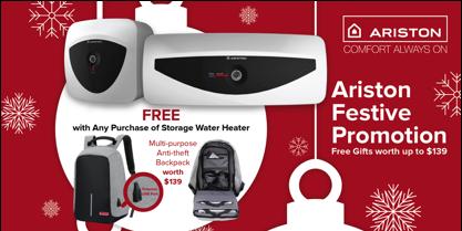 Ariston Singapore Purchase & Receive FREE Gifts Festive Promotion 15 Dec 2017 – 11 Feb 2018