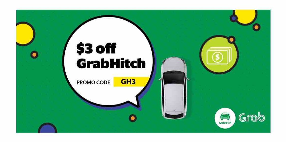 Grab Singapore $3 Off GrabHitch Rides with GH3 Promo Code 11-17 Dec 2017