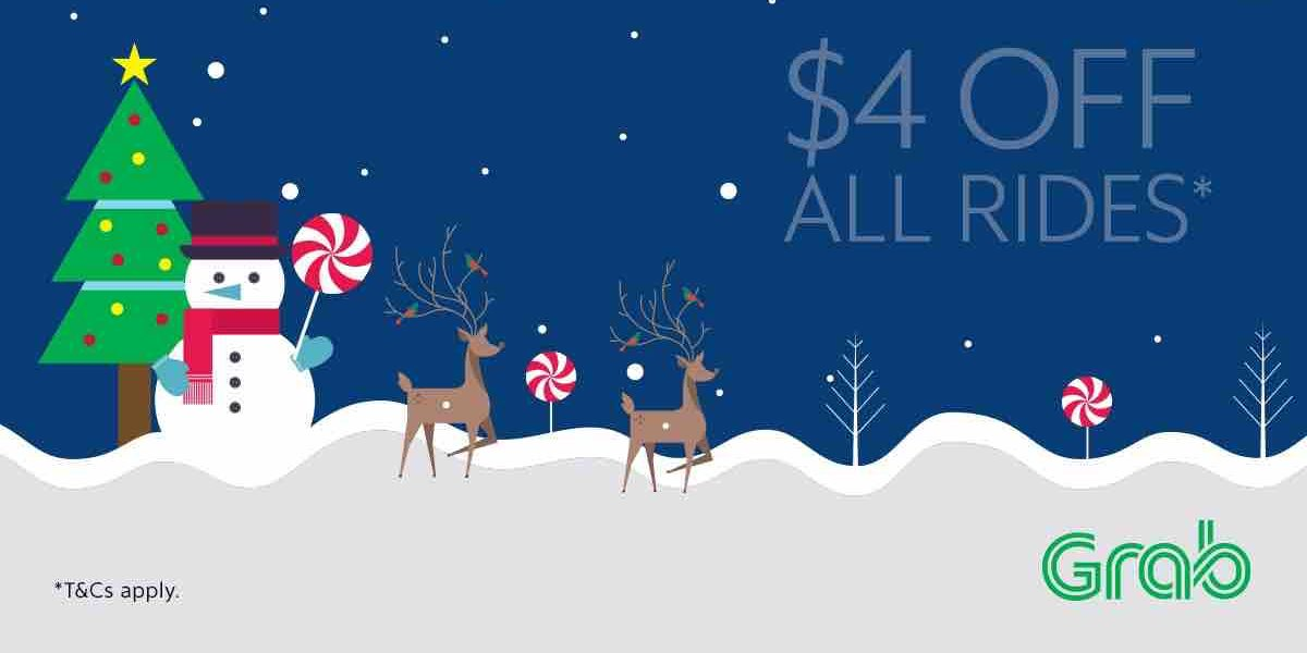 Grab Singapore $4 Off All Rides with TAKE4 Promo Code 18-24 Dec 2017