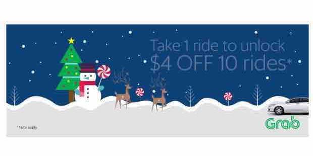 Grab Singapore Take 1 Ride & Get $4 Off 10 Rides with 4X10 Promo Code 18-24 Dec 2017