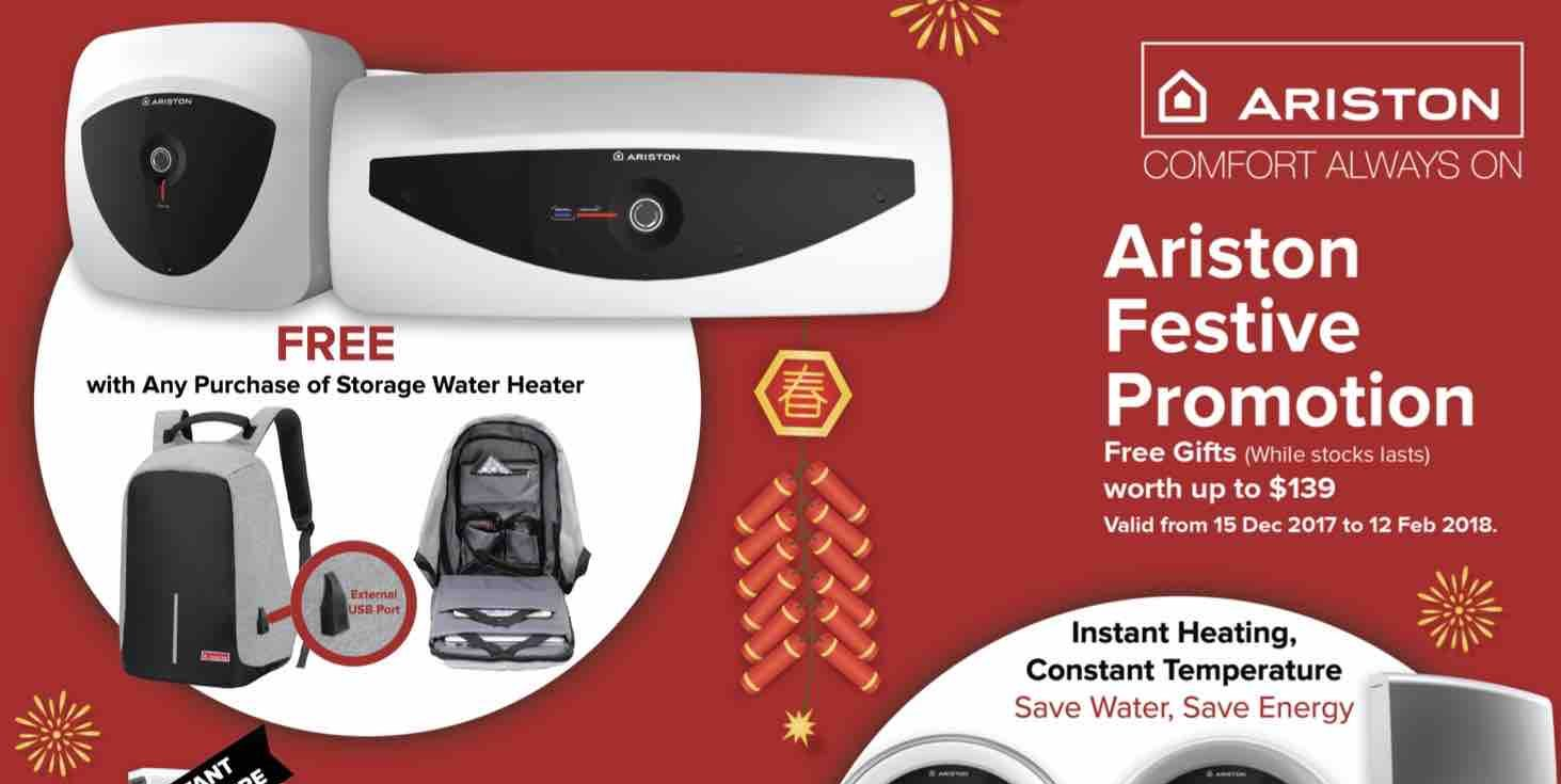 Ariston Singapore FREE Gifts worth up to $139 Festive Promotion ends 12 Feb 2018