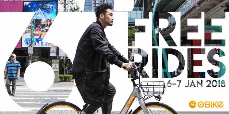 oBike Singapore FREE Rides This Weekend Promotion 6-7 Jan 2018
