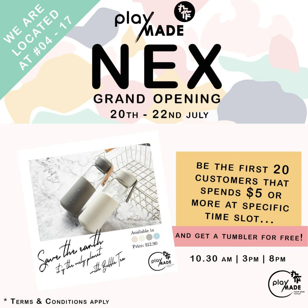 Playmade Singapore NEX Shopping Mall Opening 1-for-1 Promotion 20-22 Jul 2018   Why Not Deals 1