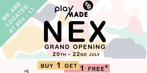 Playmade Singapore NEX Shopping Mall Opening 1-for-1 Promotion 20-22 Jul 2018