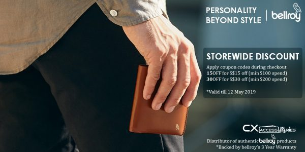CXaccessories Singapore Bellroy Storewide Discount Up to $30 Off Promo Codes ends 12 May 2019