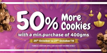 Famous Amos Singapore 50% More Cookies Promotion 25-27 Oct 2019