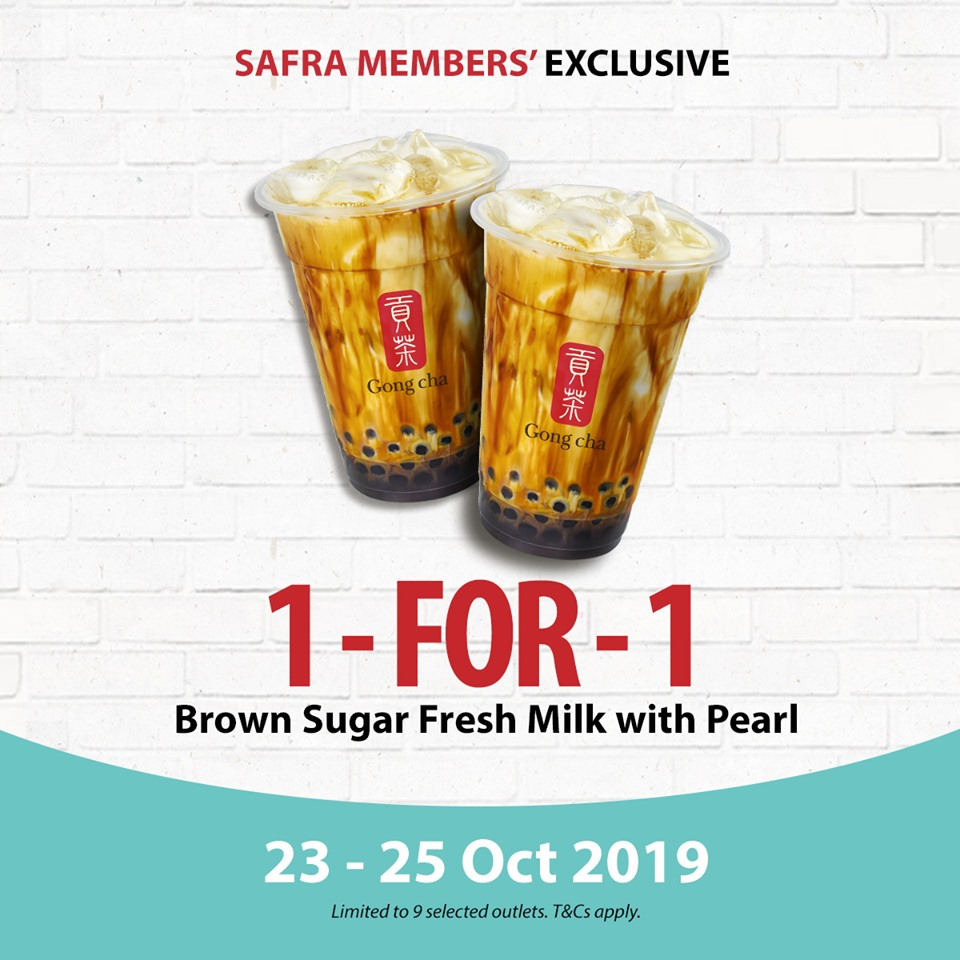 Gong Cha Singapore 1-for-1 Brown Sugar Fresh Milk with Pearl SAFRA Members' Exclusive Promotion 23-25 Oct 2019 | Why Not Deals