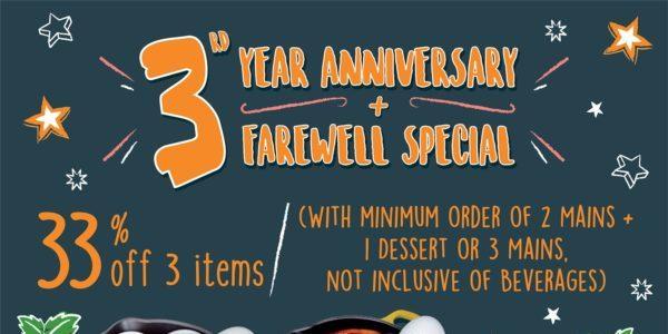 Gudetama Café Singapore 3rd Anniversary & Farewell Special 33% Off Promotion 10 Oct – 17 Nov 2019