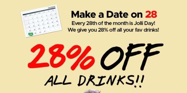 Jollibean Singapore Jolli Day 28% Off All Jollibean Drinks Promotion only on 28 Oct 2019