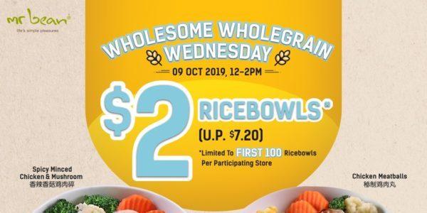Mr Bean Singapore Midweek $2 Wholegrain Ricebowl Flash Sale 9 Oct 2019